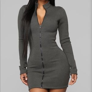 Fashion Nova Not Going Under zipper front dress